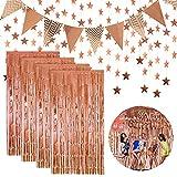 4 Pezzi Tende Orpello Metallico,Ghirlanda a Forma di Stella,Bandiera per Festa di Compleanno Matrimonio (Oro Rosa)