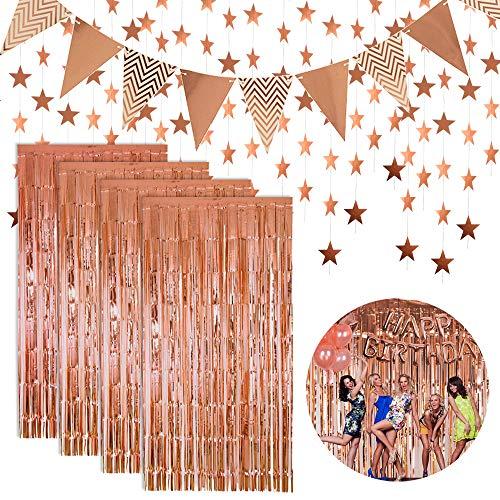 Kaari 4 STK Lametta Vorhänge Dekoration und Flagge Bunting Banner und Glitter Papier Sternform Girlande für Geburtstag Hochzeit Bachelorette Party Foto Hintergrund Tür Wanddekorationen (Rose Gold)