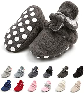 Meckior 新生儿女婴男童保暖羊毛冬靴*步行者拖鞋 E-coffee With Hook&loop 12-18 Months Toddler