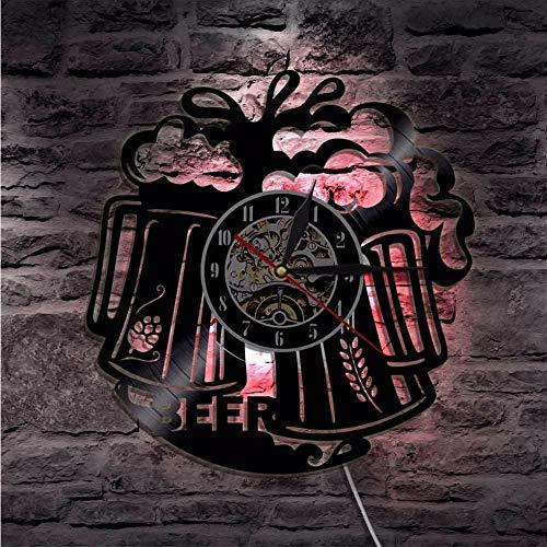 Asbjxny Orologio da Parete A Forma di Boccale di Birra LED Colore A Batteria Che Cambia Non Si Accende Il Bagliore nel Buio