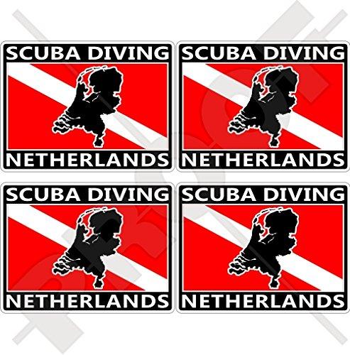 NEDERLAND SCUBA Duiken Vlag-Nederlands Kaart Vorm Holland 50mm (2