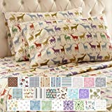Thermee Micro Flannel Shavel Home Products Sheet Set, Queen, Reindeer Fantasy