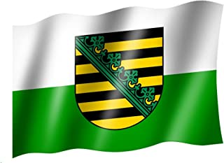 Sachsen-Anhalt mit Wappen Querformat Flagge Premium-Qualität