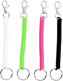 COMOK 4Pcs Colorful Flexible Spiral Retractable Theftproof Spring Coil Safety Keychain with Clip, Bright Pearlized Colors