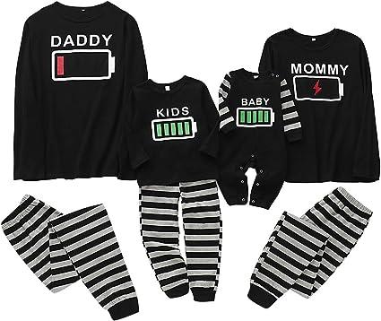 Conjunto de Pijamas Familiares Ropa a Juego Familiar Hombres Mujeres Niño Conjunto de Pijamas con Estampado de Batería para Bebés