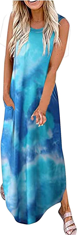 wlczzyn Summer Dresses for Women,Womens Tye Dye Cami Sleeveless Dress Maxi Dresses V Neck Beach Long Dress Sundress