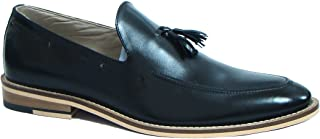 ASM Handmade Black Leather Slip on Tussle Shoes with Handmade Neolite Sole for Men.