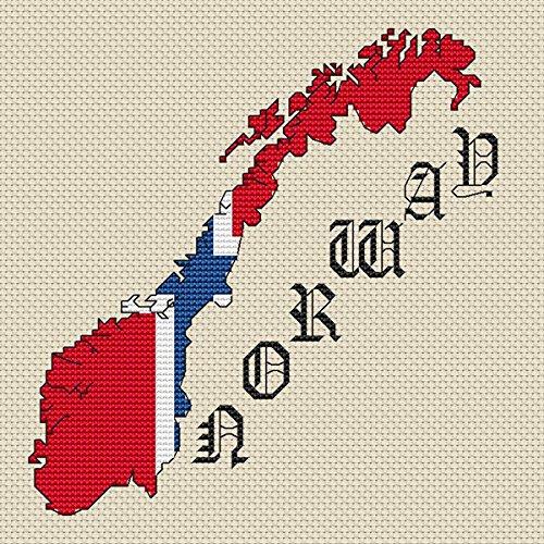 Noorwegen Kaart & Vlag Cross Stitch Kit door Elite Designs