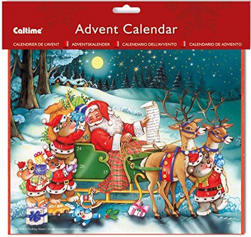 A1023 2 Parking Santa's Sleigh Advent Calendar with red envelope – 19.5 x 24.5 cm