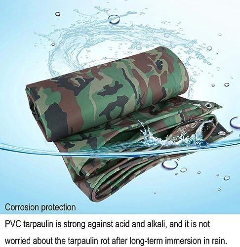 ZLL Bache extérieure imperméable-Bache imperméable en PVC avec passe-fils en métal, baches robustes pour camouflage dans la jungle, tente de camping anti-age avec filtre solaire, 440G   M2,4,5 × 7m