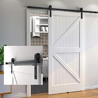 skysen 6.6FT Sliding Barn Door Hardware Track Kit Black-Step by Step Instruction (J Shape)