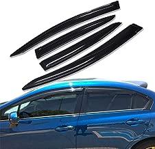 Lightronic WV94462 Tape-on Window Visors Rain Guards Smoke Tint 4PCS Set Fit for 2012-2015 Honda Civic (Sedan)