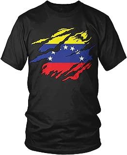 Venezuela Flag Tear Through, Rip Out Venezuelan Flag Men's T-Shirt