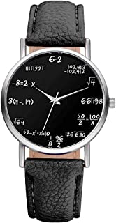 Sourats Artificial Leather Band Math Formula Dial Wrist Quartz Analog Watch 24cm