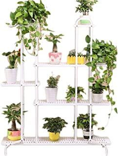 ZLZ- 花の棚錬鉄多層階スタンディングバルコニーシェルフインドアグリーン大根肉質の花の棚 植物スタンド (Color : White, Size : B)