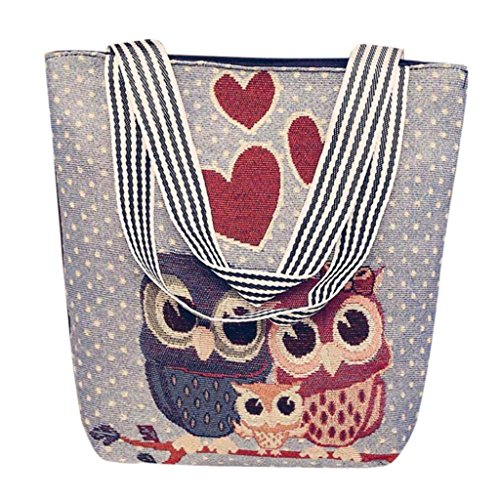 VJGOAL Damen Schultertasche, Damen Mädchen Cartoon Eule Canvas Handtasche Schultertasche Umhängetasche Schultertaschen Geschenk der Frau (33 * 10 * 32cm, F)