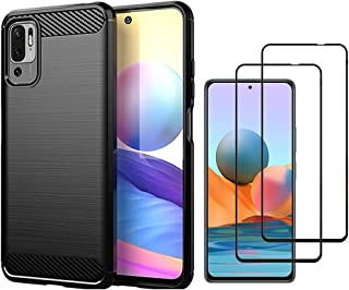 Compatible with Xiaomi Redmi Note 10 5G Case with 2 Tempered Glass Screen Protector, Soft TPU Bumper Flexible [Shock Absor...