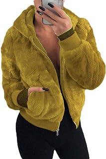 Women's Zip Basic Hooded Fluffy Coat Overcoat Warm Jacket