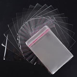 FLOFIA 200pcs Petit Sac Bonbon Transparent Plastique OPP Pochette Sachets Cellophane Auto-adhésifs Sachet d'Emballage Bisc...