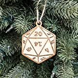 Ornament - D20 - Raw Wood 3x3in