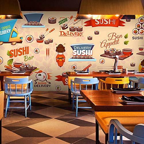 Rovovom Mural Restaurante Photo Wallpaper 3D Patrón De Platos Coloridos Comida Doodle Retro (W) 250X (H) 175Cm Lona Autoadhesiva Fondo De Pared De Cafetería Decoración Cartel Imagen Diseño