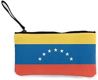 LXP FZD Venezuela Flag Canvas Cash Coin Purse Funny Wristlet Wallet Money Cash Bag Cellphone Bag with Zipper