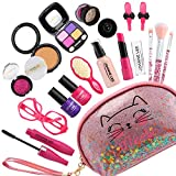 Halema Play Makeup for Toddlers, 17Pcs Pretend Makeup for Girl 3 4 5 6 7 Years Old, Kids Makeup Kit for Girls with...