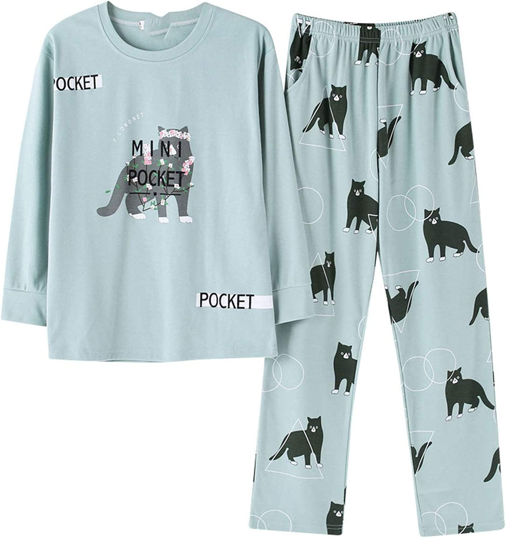 Cartoon Pajamas Girls Spring Print Set Cotton Long Sleeve Elastic Waist Women Lounge Sleepwear