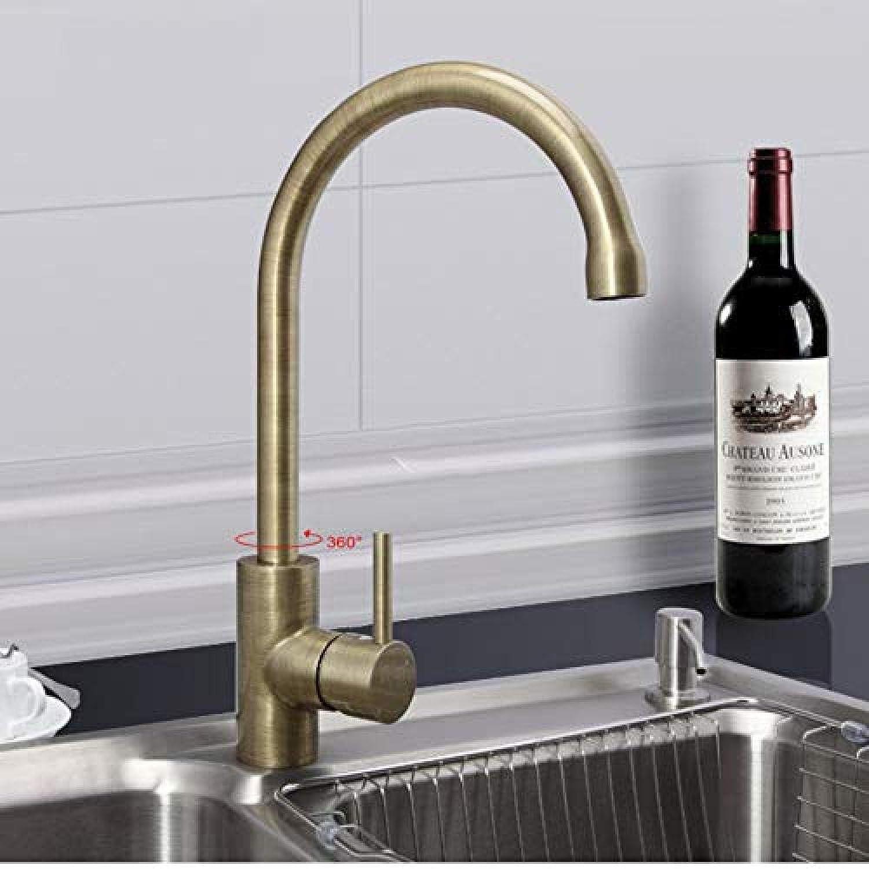 Küchenmischer Retro Style Brushed Bronze Küchenarmatur Kalt- und Warmwassermischer Einhebelmischer 360 Grad drehbar