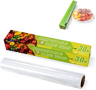 Compostable Cling Wrap with Slide Cutter, Certified Biodegradable Food Wrap, Non-Plastic Wrap for Food, Biodegradable Corn...