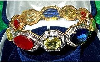 Rose Cut Diamond Antique Silver Bracelet - Multicolor Indian Traditional Bracelet - Victorian Inspired Wedding Silver Bracelet