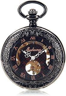 Lwieui Reloj de Bolsillo Acero de tungsteno cóncavo Espejo Convexo Manual Reloj de Bolsillo mecánico Oro Rosa Romana Perso...
