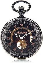 Zxcvlina Reloj de Bolsillo Vintage de Regalo para Hombre Hombres de Acero de tungsteno cóncavo Espejo Convexo Manual mecánico Reloj de Bolsillo Palabra de Personalidad Romana de Oro Rosa