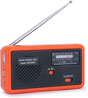 Tiemahun NOAA Weather Alert Radio Solar Emergency Radios WB/FM/AM, Hand Crank Windup 1000mAh Mobile Phone Charger LED Flas...