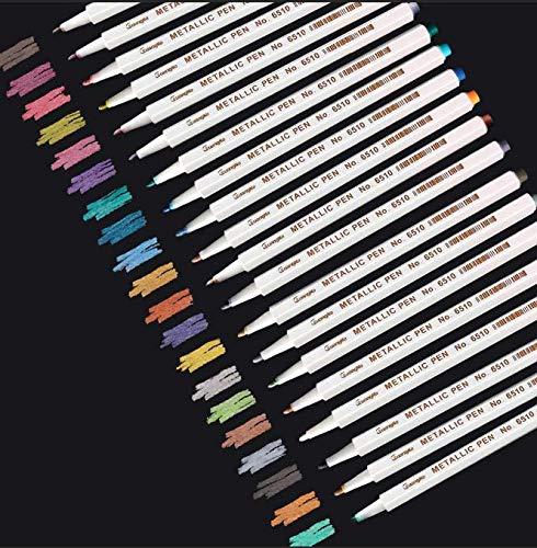 Metallic Stifte, Sporgo 20 Farben Metallic Marker Stifte, Metallic Marker Pens für DIY Fotoalbum...