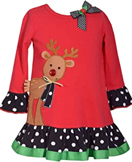 Red Holiday Reindeer Dress for Toddler and Little Girls