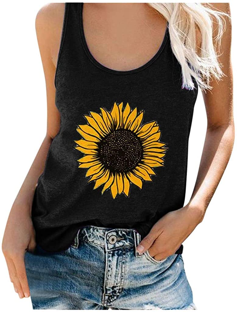 Summer Tops for Women,Women Plus Size Sunflower Printed Tee Shirts Casual Loose Fit Sleeveless Tunic Tops
