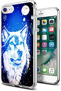 Wolf Case for iPhone 8/iPhone 7,Gifun Anti-Slide Clear Soft TPU Premium Flexible Protective Case for Apple iPhone 8/iPhone 7 - Moon and Wolf