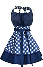 Aprons for Women Girls Plus Size,Retro Vintage Cooking Aprons with Pockets & Extra Ties,Kitchen Aprons for Baking Apron Dress - 22x30 inch(blue)