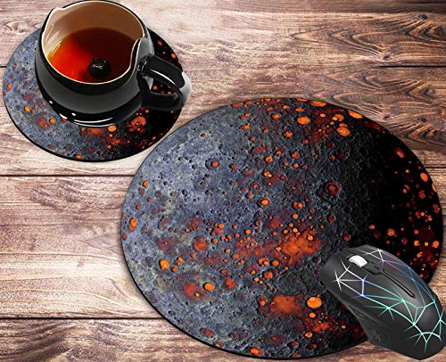 Round Mouse Pad and Coasters Set, Planet Alien Mousepad, Anti Slip Rubber Round Mousepads Desktop Notebook Mouse Mat for Working and Gaming