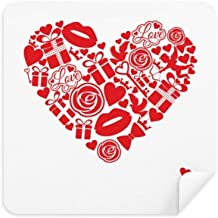 DIYthinker Valentine S Day Red Heart Rose Gift Love Glasses Cleaning Cloth Phone Screen Cleaner Suede Fabric 2Pcs