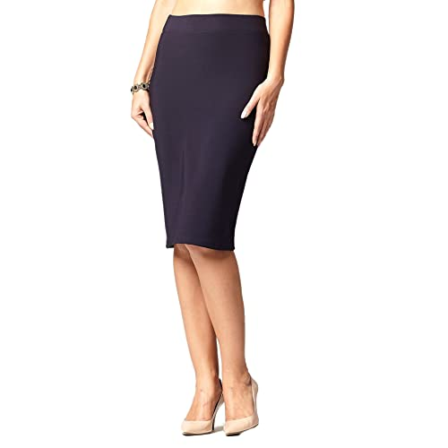 7abc50bf0 Premium Women's Pencil Skirt - Elastic Waist - Stretch Bodycon Midi Skirt -  Many Colors