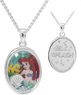Disney Little Mermaid Ariel Silver Plated Floating Crystals Shaker Pendant w/Chain Jewelry