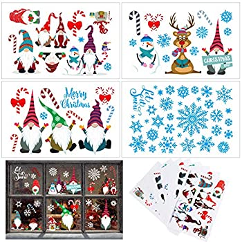 140 Pieces Xmas Gnomes Window Clings Snowflake Decorations Winter Xmas Elf Scandinavian Tomte Window Decals Holiday Christmas Party Supplies