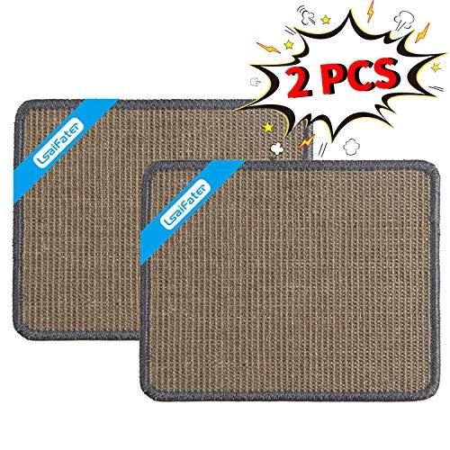 LSAIFATER 2 PCS Cat Scratching Mat Natural Sisal Mat Protect Carpets and Sofas 118x149 inch Grey
