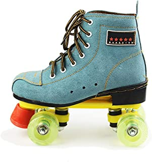 Classic Quad Artistic Roller Skates for Adult and Youth Suede Leather Shoes for Indoor and Outdoor, Blue,39