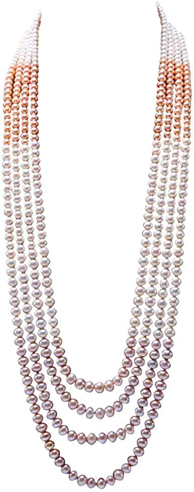 JYX Pearl Multi Strand Long Sweater Necklace Gorgeous Genuine AA+ 6.5-10mm White,Pink and Lavender Pearl Necklace for Women 40