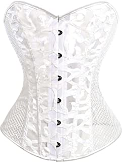 Corset Sexy Lace Lingerie Women Hollow Out Corsages Overbust Black Tops Plus Size Slimming Underwear (Color : White, Size...