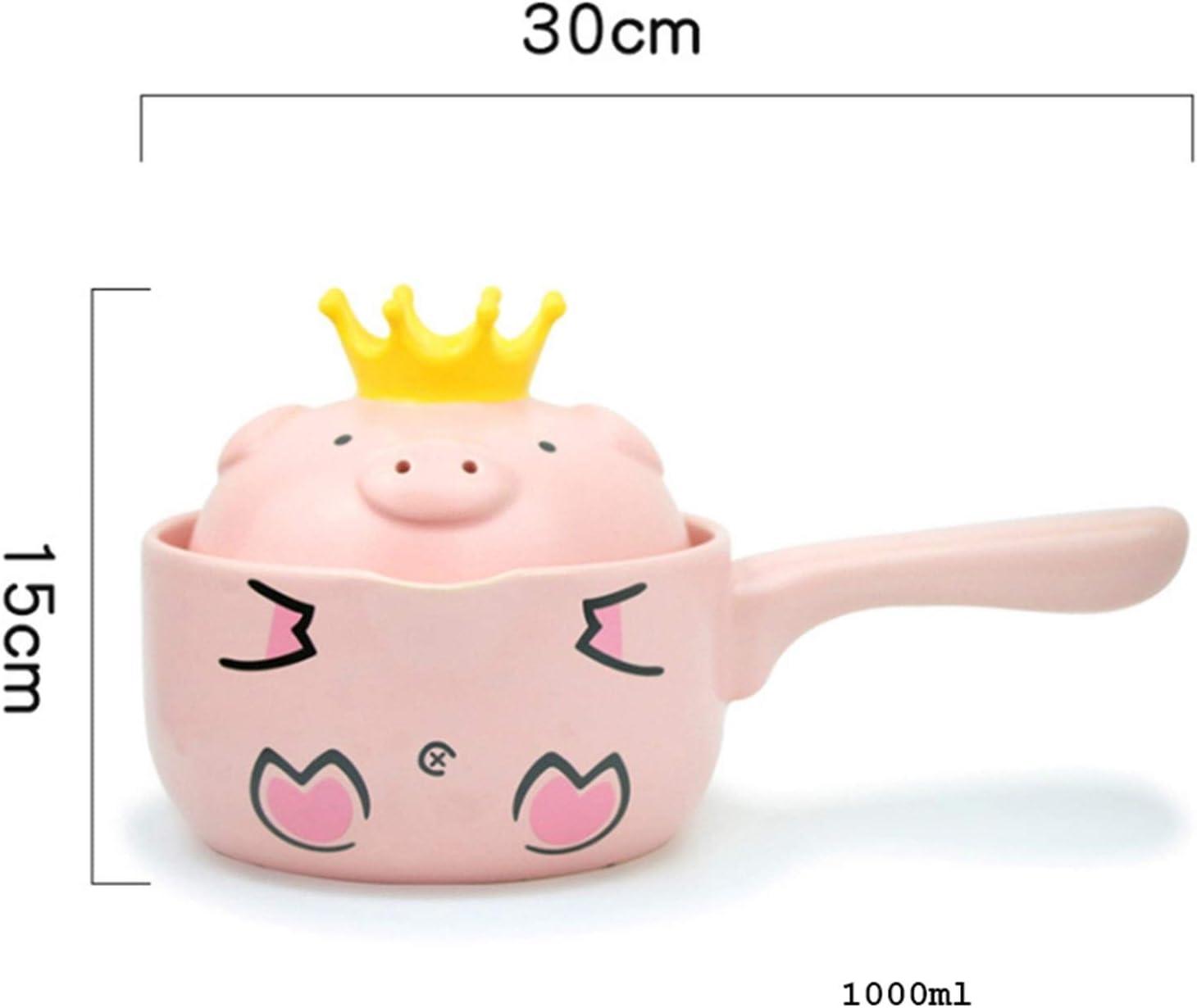 Fioerwe Petit Pot à Lait Creative Mini Pink Pig Milk Céramique/Marmites Casseroles avec Couvercle et poignée Simple antiadhésifs Marmite (Color : Pink) Pink