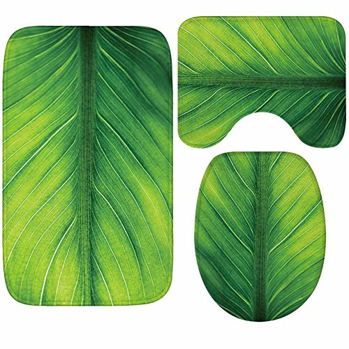 X-Life 3-Teiliges Badezimmer Teppich Set – Badematte 40x50cm, Badteppich 50x80cm und WC-Deckel-Bezug 35x45cm– Badematten rutschfest & waschbar mit Ausschnitt, aus weicher Kunstfaser, Grün